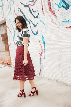 striped tee and midi