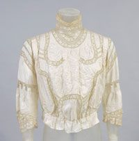 Woman's Blouse Made in United States 1908 Artist/maker unknown, American Ivory silk with embroidery and lace insertion Center Back Length: 16 inches cm) Waist: 26 inches cm) Edwardian Clothing, Edwardian Era, Edwardian Fashion, Vintage Fashion, Vintage Clothing, Victorian, Blouse Vintage, Vintage Lace, Vintage Style