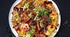 For a low-calorie meal that's packed full of flavour try this delicious, savoury-style Asian pancake. Gimme Some Oven, Tasty, Yummy Food, Tasting Table, Green Cabbage, Low Calorie Recipes, Vegetarian Recipes, Pancakes, Beef