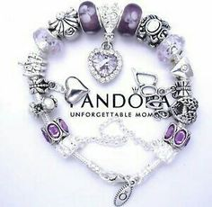 Pandora Bracelet with European Style Purple Charms