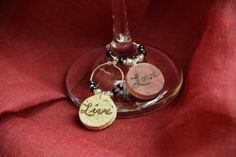 LIVE & LOVE Wine Cork Charms, Beaded Script Wine Charms, Natural Cork Wine Glass Charms, cFz, Corky Friendz, Wedding Favor/Gift, Small on Etsy, $10.95