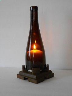 Wine Bottle Lantern by ryangilbert on Etsy Wine Bottle Lanterns, Wine Bottle Corks, Liquor Bottles, Wine Bottle Crafts, Bottles And Jars, Glass Bottles, Wine Craft, Wine Decor, Recycled Bottles