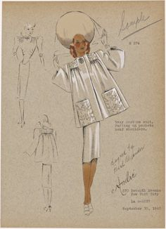 From New York Public Library Digital Collections. 30s Fashion, Vintage Fashion, Fashion Art, Fashion Design Drawings, Fashion Sketches, Fashion Figure Drawing, Abaya Designs, Fashion Sketchbook, Vintage Models