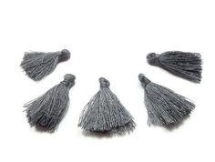 Mini Tassels, 5 Pieces Dark Gray Tassels - Cotton Tassels - PS017