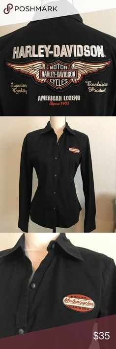 Harley-Davidson Blouse EUC Black button front cotton blouse with the iconic Harley Davidson Symbol on the back.  Only worn a few times and always dry cleaned. Harley-Davidson Tops Blouses