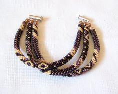 SALE Beadwork 3 Strand Bead Crochet Rope Bracelet in by lutita