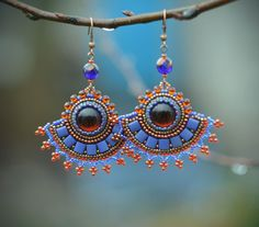 Royal Blue earrings -ethnic earrings - bead embroidery earrings - beadwork…