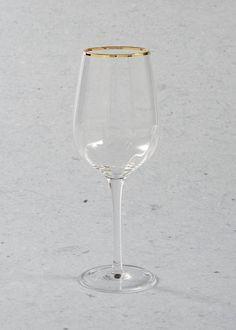 Gold Rim Christmas Wine Glass (23cm)