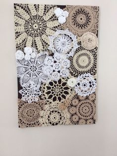 Maybe do this using not only doilies, but other vintage linens...