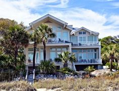 Hot Tin Roof is the name of this 7 bedroom oceanfront home on N Forest Beach that sleeps 16.  The address is 129 Dune Lane.  It has an elevator that can be used with the owner's permission. It has a pool that is partially covered so you can always be out of the sun.