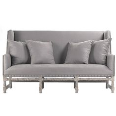Smokey Gray Nail Studded Settee ($2,745) ❤ liked on Polyvore featuring home, furniture, sofas, bench, hand carved furniture, nail head sofa, studded sofa, wingback furniture and nailhead couch