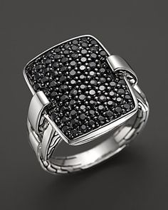 John Hardy Classic Chain Silver Rectangular Ring with Black Sapphire | Bloomingdale's