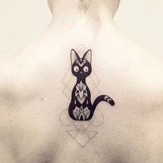 Petit zoom sur Jiji merci Isabelle !! #Jiji #miyazaki #cat #tattoo #violette…