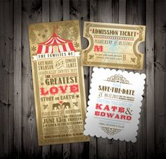Vintage Circus Themed Wedding Party Invitations and Save the Dates. $6.80, via Etsy.