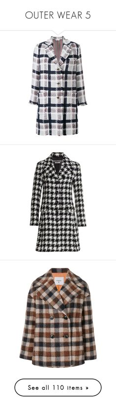 """""""OUTER WEAR 5"""" by noconfessions ❤ liked on Polyvore featuring outerwear, coats, blue, thom browne, thom browne coat, multi colored coat, blue coat, checked coat, jackets and moschino"""