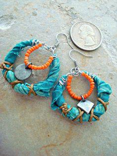 Boho Earrings  Hippie Earrings  African by HandcraftedYoga on Etsy, $32.00