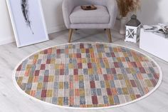 Istanbul Modern Azze Multi Round Rug   Pile Height: 5mm Material: 65% Polypropylene,35% Polyester Rug Type: Indoor Easy to clean Style(s): Modern & Contemporary Pattern(s):Vintage, Modern