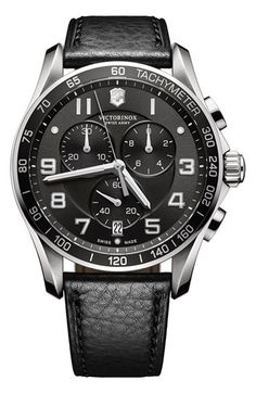 Victorinox Swiss Army® 'Chrono Classic XLS' Leather Strap Watch, 45mm available at #Nordstrom
