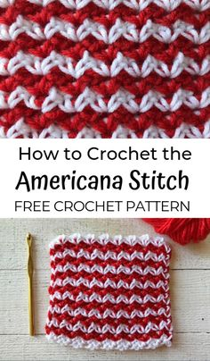 Learn how to crochet the Americana Stitch—a free crochet stitch pattern, and an easy colorwork stitch for beginners! Crochet pattern and tutorial. Easy Knitting Patterns, Crochet Stitches Patterns, Crochet Patterns For Beginners, Knitting Stitches, Stitch Patterns, Sock Knitting, Knitting Tutorials, Knitting Machine, Lace Patterns