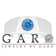 Fancy Blue Diamond Solitaire Men's Wedding Ring 14K White Gold 0.48 Carat HandMade Mans Ring