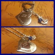 Secret Message Navy Mom Hand Stamped Necklace by QuotableKeepsakes, $32.00