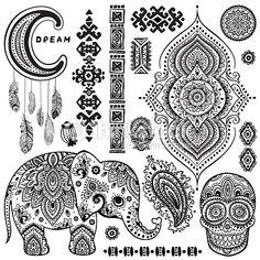 Set of ornamental Indian symbols.Ethnic elephant royalty-free set of ornamental indian symbolsethnic elephant stock vector art & more images of mandala Indian Patterns, Henna Patterns, Neue Tattoos, Body Art Tattoos, Tatoos, Vector Pattern, Pattern Design, Elefante Tattoo, Bohemian Tattoo