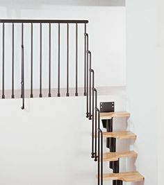 This is the Karina Space Saver Stair with matching stairwell balustrade. Great for a loft conversion or sleeping platform.