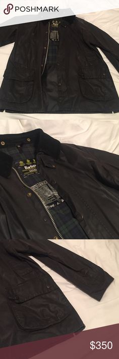 Black Bedale Barbour coat Had for years looking for green or brown one. Men's but fits women's 8 this is a washed out black Barbour Jackets & Coats