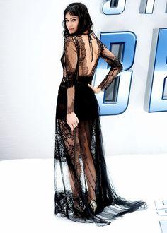 On Sofia Boutella: Alberta Ferretti di Lorenza Serafini dress; Jimmy Chooshoes.