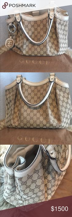 Gucci medium Sukey tote in cream Gucci Sukey Medium Beige Original GG Monogram Canvas Leather Tote. I like to be 100% honest w/ everything I sell & I did my best to get pics from every angle because it does have some normal wear - stains inside bag (see pics) and 3 small, snags on sides where the fabric pleats @ the handle (this is typical wear on canvas Gucci bags) & unless you're truly looking, they can not be seen.  Will happily provide date code. Priced for offers 💗 Gucci Bags