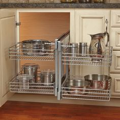 Features:  -Works in either a blind-left or blind-right corner cabinet.  -Unit slides completely outside of cabinet for hard to reach items.  -100 lbs Rated full-extension ball-bearing slides.  -Requi