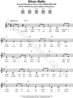 Silver Bells sheet music by Bing Crosby Christmas Piano Music, Christmas Songs Lyrics, Christmas Prayer, Christmas Post, Christmas Parties, Xmas, Ukulele Songs Beginner, Easy Piano Songs, Violin Sheet Music