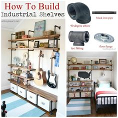 How to Build Industrial Shelves Industrial shelves are functional and easy to build. We built some for our oldest sons' bedroom. They share a long, narrow bedroom, so we built them their own storage. Narrow Bedroom, Pipe Furniture, Furniture Redo, Furniture Projects, Garage Shelving, Built In Shelves, Build Shelves, Industrial Shelving, Inexpensive Furniture
