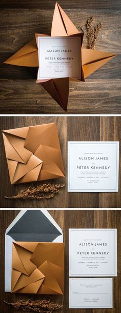 Unique Origami Wedding Invitation by Penn & Paperie shown in shimmer copper and black color palette.
