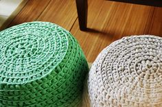 Ottoman Love - I wonder if I could figure out how to crochet a cover for my ratty ottoman?