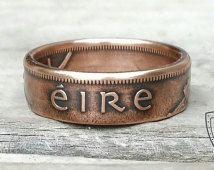 Irische Kupfer Münze Ring - 1D Irland Münze aus Kupfer