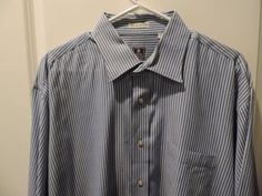 Peter Millar Blue Striped Cotton Dress Shirt SZ 17.5L Mint Quick Ship Clearance (Pre-Owned)