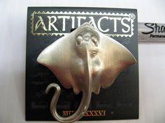 Vintage Jonette Jewelry pin brooch,  vintage JJ signed Manta Stingray JJ pin,  #sideeffectsny
