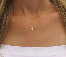 Tiny gold initial necklace Gold letter necklace by HLcollection>>>always wanted one-bina Initial Necklace Gold, Initial Jewelry, Dainty Necklace, Gold Jewelry, Gold Bracelets, Horseshoe Necklace, Tiffany Jewelry, Fine Jewelry, Topaz Jewelry
