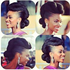 This looks like her hair is blown out then styled, which is probably similar to what I would do for the wedding if we find a stylist that can do natural hair.  Teyonah Parris' Natural Hair Updo. STUNNING hairdo for a #NaturalBride, no?