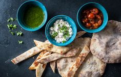 This isn't your average flatbread recipe, included in it are instructions for making three different dips to serve alongside.