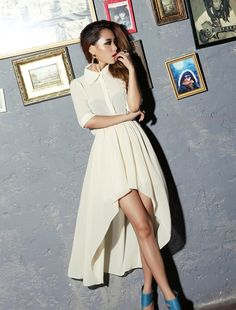 Backless Casual Chiffon See Through uneven Long Dress Short Sleeve Material: Chiffon Pattern: Solids Dress Length: Full-Length.  ID# 120 Price $45.00