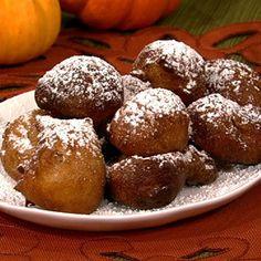 the chew | Recipe  | Carla Hall's Pumpkin Beignet With Caramel Dipping Sauce