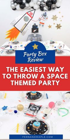 "Looking to throw a Space or Rocket themed birthday? Check out this game-changing ""party in a box"" recommendation as well as tips for personalizing the party! Get details now at fernandmaple.com."