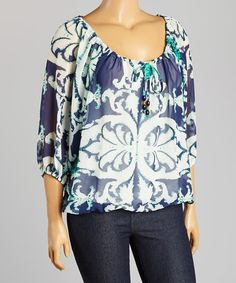Look at this #zulilyfind! Navy & Turquoise Sheer Ikat Peasant Top - Plus by Madison Paige #zulilyfinds