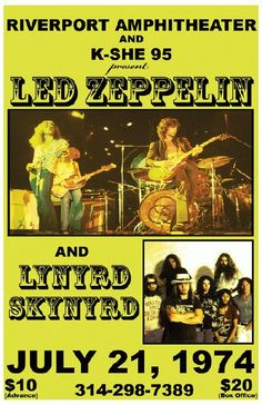 Vintage, retro, hippie classic rock poster - Lynyrd Skynyrd and Led Zeppelin 1974 Rock Posters, Band Posters, Film Posters, Event Posters, Led Zeppelin, Hard Rock, Horror Movie Posters, Horror Films, Robert Plant