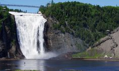 Beautiful Montmorency Falls in Quebec Ontario Canada Ontario, Chute Montmorency, Visit Toronto, Voyage Canada, Sites Touristiques, Across The Bridge, Visit Canada, Beautiful Waterfalls, Quebec City