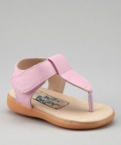 Take a look at this Light Pink Squeaker T-Strap Sandal by Itzy Bitzy on #zulily today!