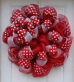 Red & White Polka Dot Mesh Wreath by dottiedot05 on Etsy, $65.00