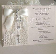 Items similar to Vintage Lace Rosary Beads Couture Invitation - Baptism/Christening or Communion - Blush Pink - Girl or Boy on Etsy First Communion Cards, First Communion Invitations, Christening Invitations, First Holy Communion, Wedding Invitations, Communion Favors, Baby Girl Baptism, Baptism Party, Baptism Ideas